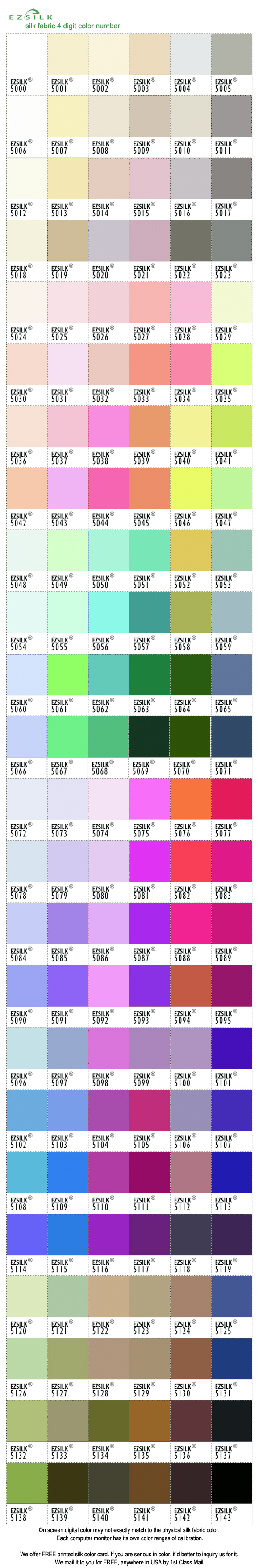 silk color card 144 colors