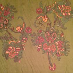 "Printed Silk Iridescent Chiffon, Paisley Print, 6mm, 45"""